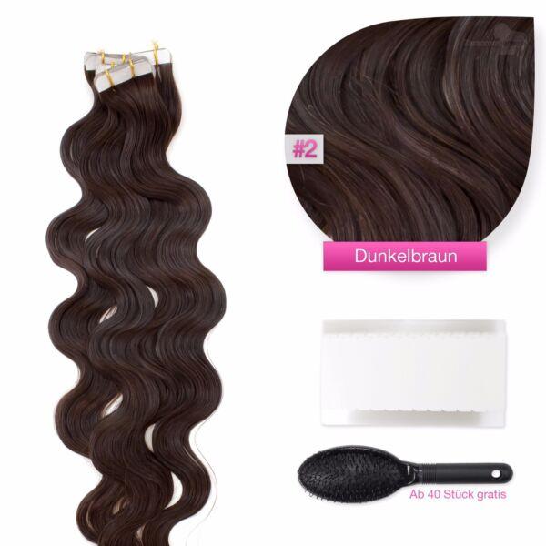Tape In On 100 Echthaar Remy Hair Extensions 2 D Braun Gewellte