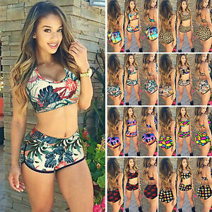 Women-039-s-Leopard-Sport-Tankini-Set-Boy-Shorts-Swimwear-Swimsuit-Bikini-Beachwear