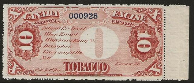Canada Tobacco Excise Stamp - Mint Never Hinged - 10 Pounds