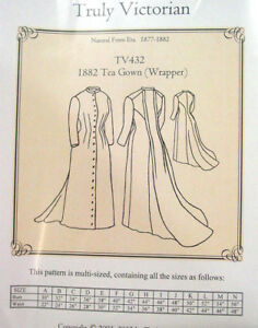 Truly-Victorian-Sewing-Pattern-TV432-1882-Tea-Gown-Wrapper-Long-dress-uncut