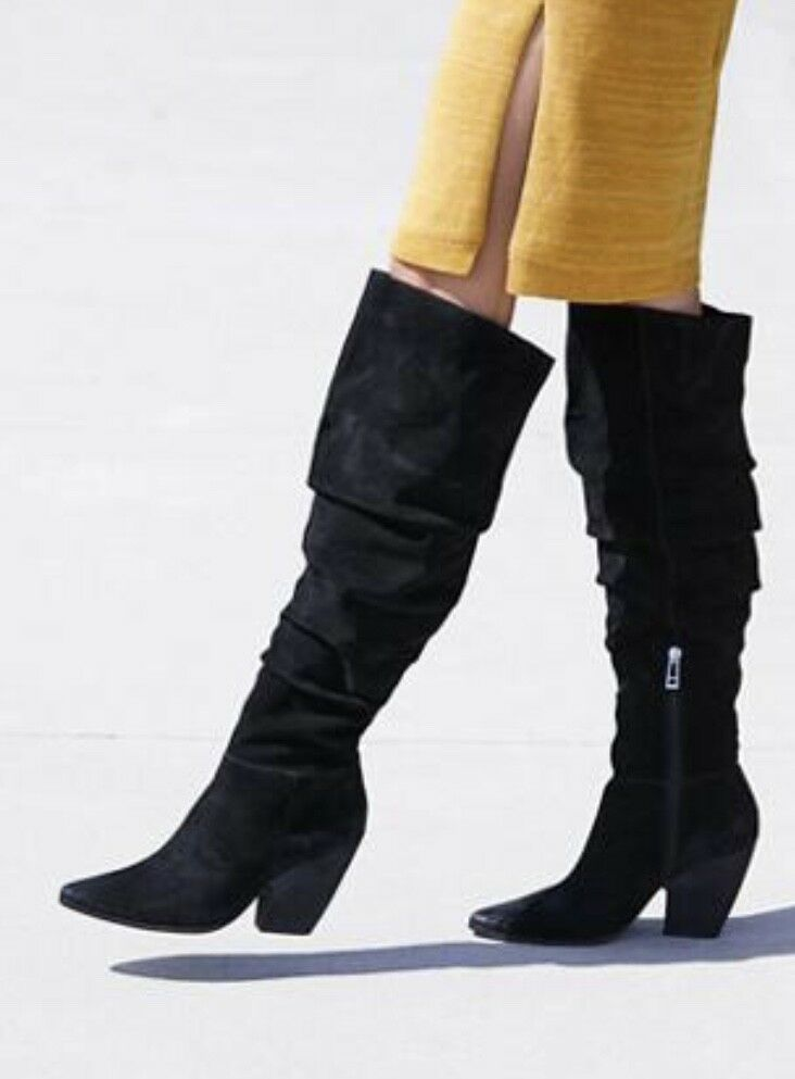 outlet in vendita NEW Charles Charles Charles David nero Suede Slouch Point Toe Zip Over The Knee stivali 8  alla moda