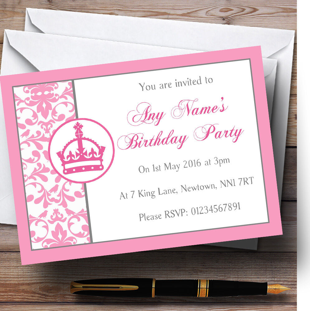Rosa Invitations Princess Crown Weiss Personalised Birthday Childrens Party Befda4