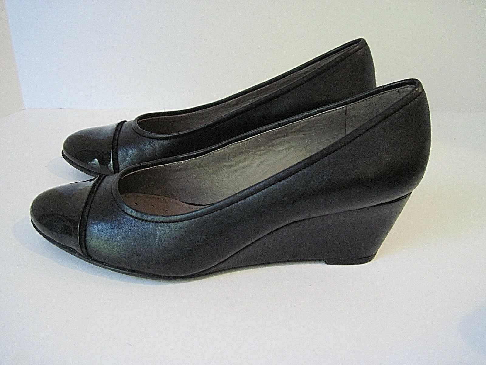 250 GEOX VENERE BLACK LEATHER PATENT FRONT WEDGE SHOES SIZE 38.5