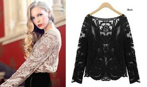 8a2f864fe4ddc1 Image is loading Women-Sexy-Semi-Sheer-Long-Sleeves-Embroidery-Floral-
