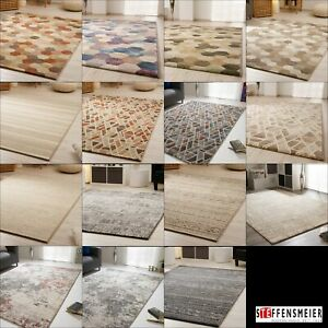 Details zu Wohnzimmer Teppich Harmonious Colours in Blau Grau Rosa Creme  Rost Lila Beige