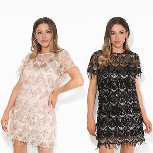 Womens-Ladies-Sequin-Dress-Party-Shift-Mini-Short-Fringe-Evening-Glitter-Lurex