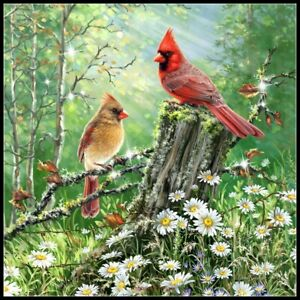 Cardinals-in-the-Meadow-Chart-Counted-Cross-Stitch-Pattern-Needlework-Xstitch