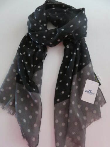 Glen Prince ladies scarf black grey spotted spotty wool NEW womens woollen