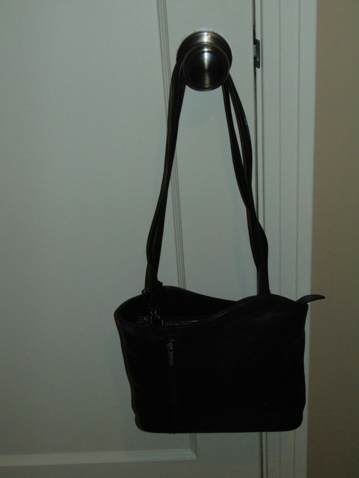 THE LEATHER BLACK LEATHER PURSE BACKPACK - MADE AND PURCHASED IN ITALY