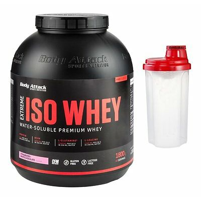 (27,17 Euro/Kg) Body Attack Extreme Iso Whey Professional 1800g 1,8Kg + Shaker