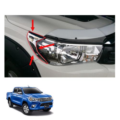 Side Head Lamp Light Cover Chrome Trim For Toyota Hilux Revo Pickup 2015-2017