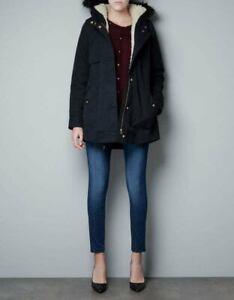 ZARA-Basic-Parka-Acrylic-Hood-Coat-Jacket-Outerwear-Overcoats-Winter-Black-UK-XS