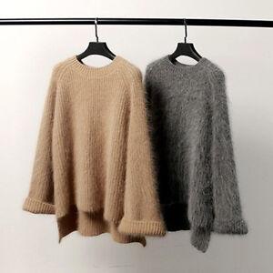 Women-Cashmere-Mink-Fur-Pullover-Sweater-Loose-Stretch-Warm-Coat-Jacket