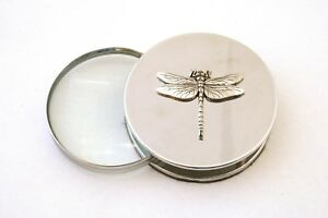 Dragonfly Chrome Plated Magnifying Glass Desktop Nature Gift