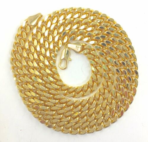 """30/"""", 8 mm wide//thick 30 Inches Long 8mm Width Cuban Link Chain Gold Plated"""