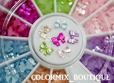 5mm 6 Color 3D Nail Art Decoration Mini Pearl Ribbon Bow #R20