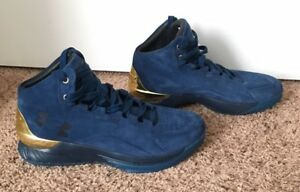 Under Armour Steph Curry Mens 11 Shoe One 1 Lux Gold Blue Navy Suede ... c986c7b8bfa5