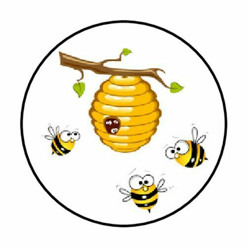 """48 BEES HIVE ENVELOPE SEALS LABELS STICKERS 1.2/"""" ROUND"""