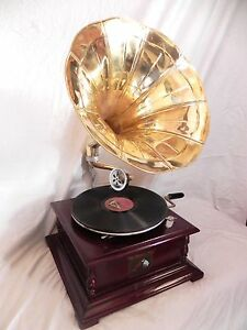 HMV-Gramaphone-Gramophone-Phonograph-Brass-Horn-Vintage-Look-WORKING-New