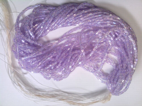 Vtg 1 HANK LAVENDER IRIS 2 CUT HEX GLASS SEED BEADS 8//0 #040719i MATSUNO