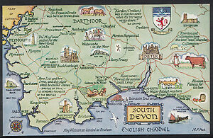 Maps Postcard - Map of South Devon and The English Channel DR393 on