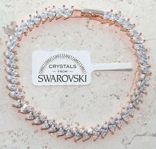 Bracciale tennis oro bianco 24k donna,braccialetto cristalli classico SW/58