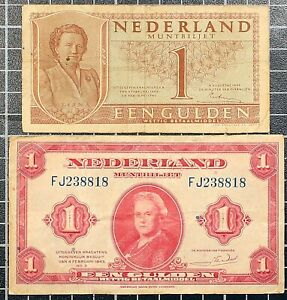 NETHERLANDS-1-Gulden-1943-and-1945-Banknote-WWII-Currency-Lot-of-2