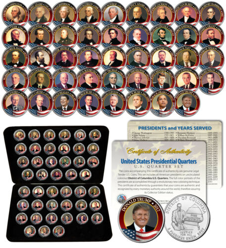 ALL 45 United States PRESIDENTS Colorized 2009 DC Quarters Coin Set US w//Box COA