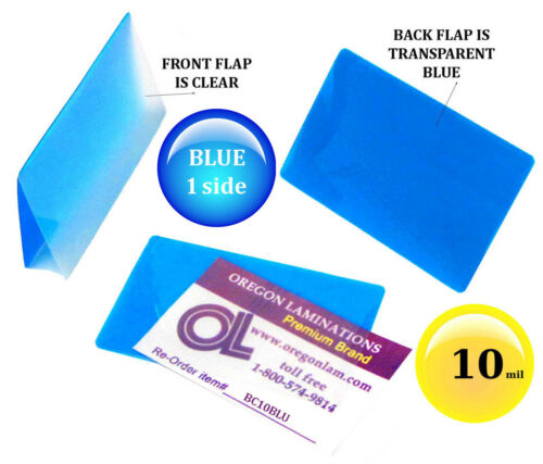 pk of 100 Hot Laminating Pouches 2-1//4 x 3-3//4 Business Card 10 Mil Clear//Blue