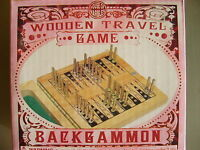 MINI WOODEN TRAVEL BACKGAMMON GAME by HOUSE OF MARBLES - NEW