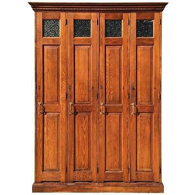 Row of Four Antique Late 19th Century Oak Police Lockers