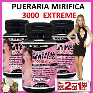 PUERARIA-MIRIFICA-3000-EXTREME-PURE-amp-NATURAL-BUST-BREAST-ENLARGEMENT-CAPSULES
