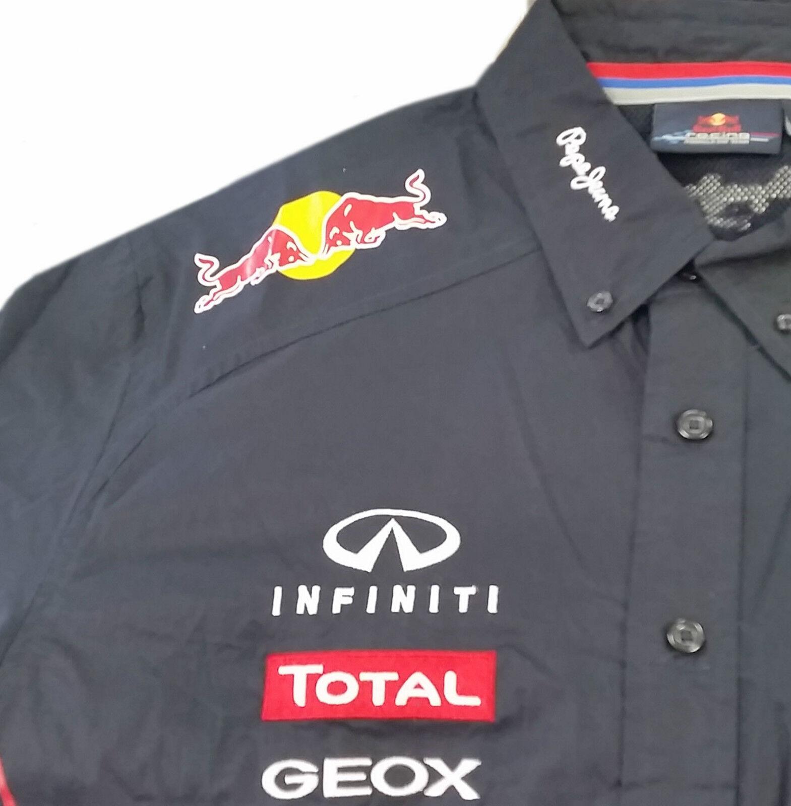 AUTHENTIC INFINITI RED BULL F1 RACING TEAM 2012 MENS SHIRT FULL SPONSORS VETTEL