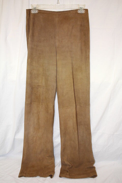 EMANUEL UNGARO Brown Soft Leather Pants Womens Size 6 40-B126