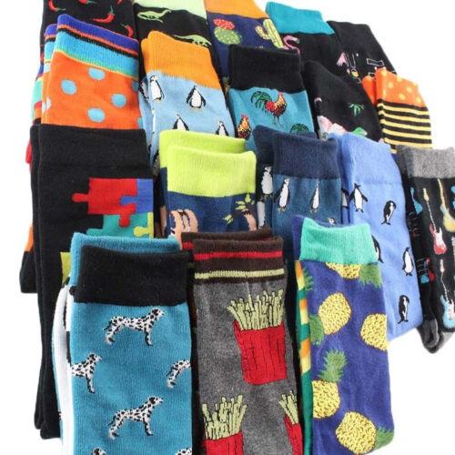 1 Pair Men Socks Cartoon Animal Fruit Prints Ankle Sock Hip Hop Casual Hosiery