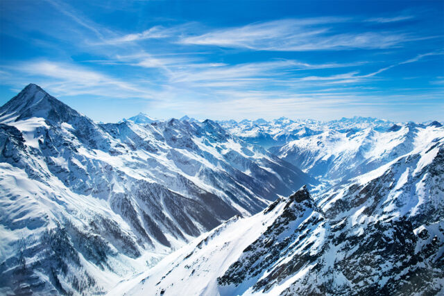 -See Winterlandschaft Gebirge Natur Berge Schnee 3682V VLIES Fototapete-ALPEN-