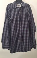 Western Shirt Cowboy Mens Resistol Ranch Rodeo Long Sleeve Blue Plaid L Xl