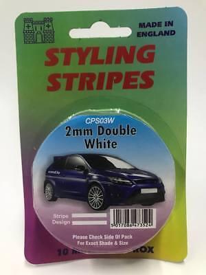 2mm Mini Twin White 10 Metres Coachline Pin Car Stripe Pinstripes Go Faster Tape