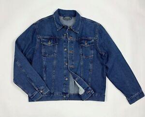Mens-classic-jacket-jeans-uomo-usato-XL-denim-giacca-giubbino-vintage-blu-T6286