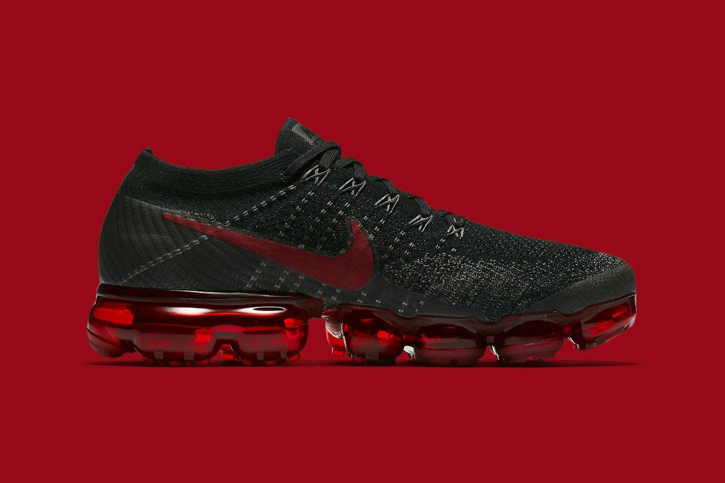 Nike Vapormax Flyknit Black Red Size 13. 849558-013 air max 2017 90 97