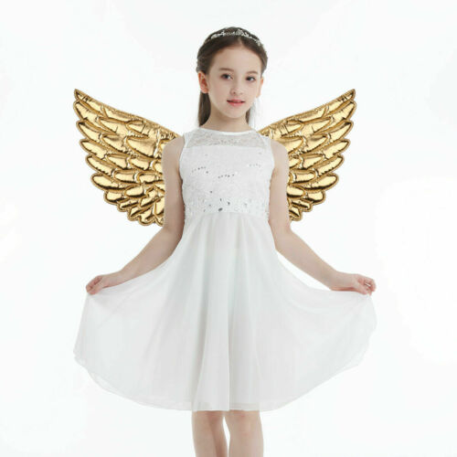 Kids Unisex Glossy Metallic Angel Wings for Halloween Cosplay Party Costume  F