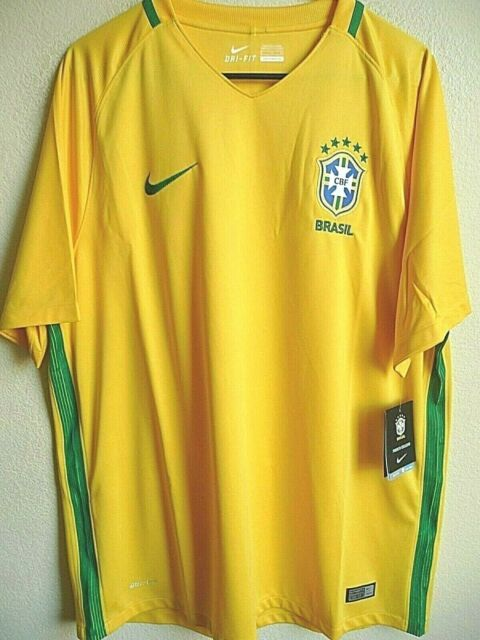 izquierda papel Leche  Nike Mens 2xl Brasil Brazil Home Football Soccer Jersey Yellow 724597-703  Futbol XL for sale online | eBay