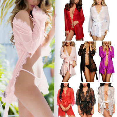 Sexy Intimates Lingerie Women's Ladies Robe Lace Sleepwear Nightdress Bath Gown