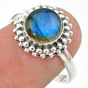 925 Silver 3.30cts Solitaire Natural Blue Labradorite Round Ring Size 8 T41318