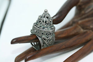 Antique-Victorian-Estate-Thai-Dancer-Old-Filigree-500-Silver-Flexible-Ring-Sz-8