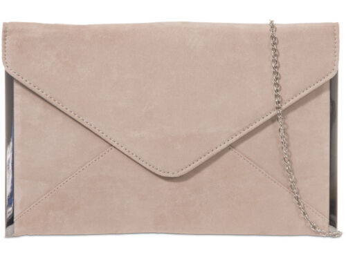 Ladies Faux Suede Envelope Clutch Bag Evening Bag Party Bag Handbag Purse K50292