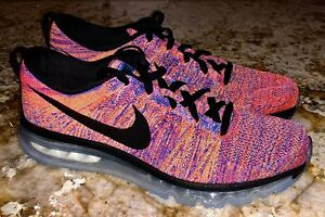 sports shoes 3325a f73a2 Image is loading NIKE-AIR-MAX-Flyknit-360-Crimson-Blue-Black-