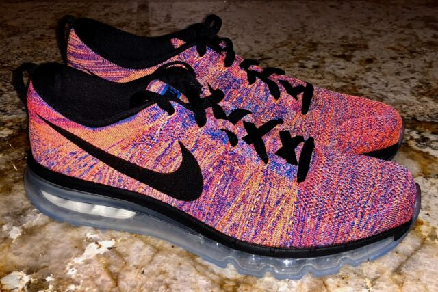 size 40 265c2 a05f2 NIKE AIR MAX Flyknit 360 Crimson Blue Black Running Training Shoes Mens Sz  11 15
