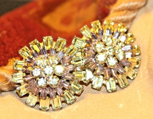 Stunning HATTIE CARNEGIE Signed Bright Golden Leaves Crystal Rhinestone Earrings~Authentic Collectible Designer~Vintage Costume Jewelry Gift