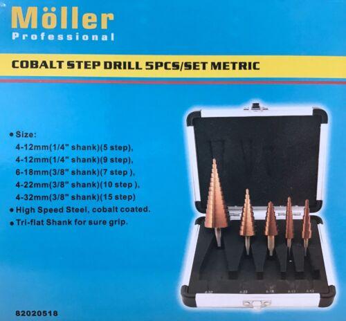 5PCS COBALT STEP DRILL BIT SET METRIC FROM MOLLER PROFESSINAL 15 step for 4-32